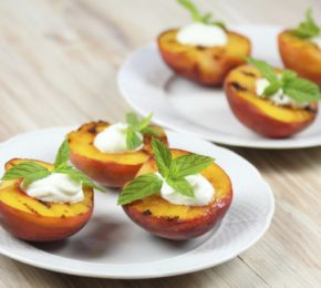Grilled Peaches with Honey, Mint and Greek Yogurt
