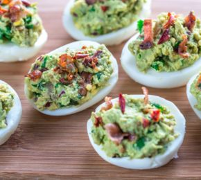 Spicy Guacamole and Bacon Deviled Eggs