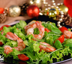 SHRIMP ARUGULA SALAD  WITH LEMON VINAIGRETTE