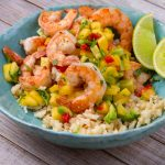 Shrimp Coconut Cauliflower Rice Bowl with Mango Salsa